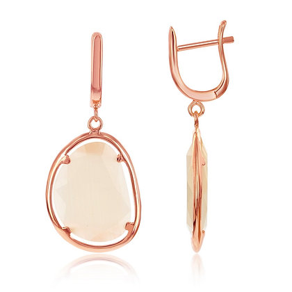 Rose Gold Champagne Cats Eye, Earring