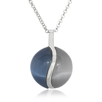 Dark and Light Blue Cat's Eye Necklace