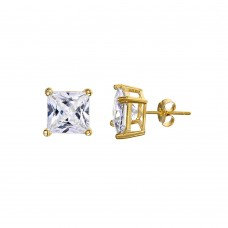 Princess Cut CZ Studs, Yellow or White