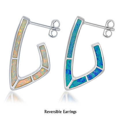 Reversible J Hoop, Blue and and White Opal Earring.