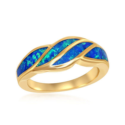 Blue Opal Wave Ring, Yellow Gold
