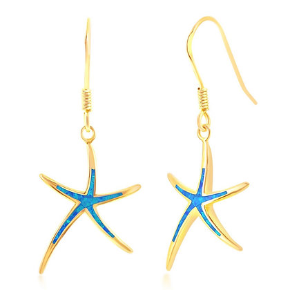 Blue Opal Starfish Earrings