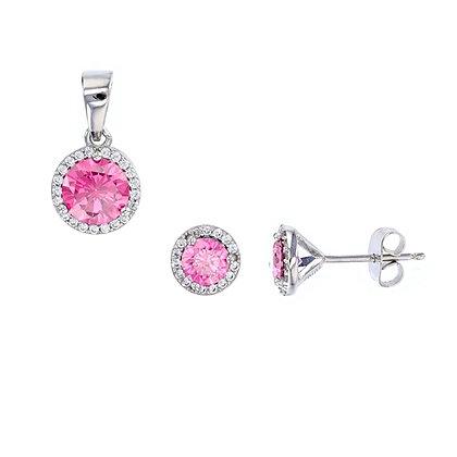Pink Sapphire Halo Stud Set