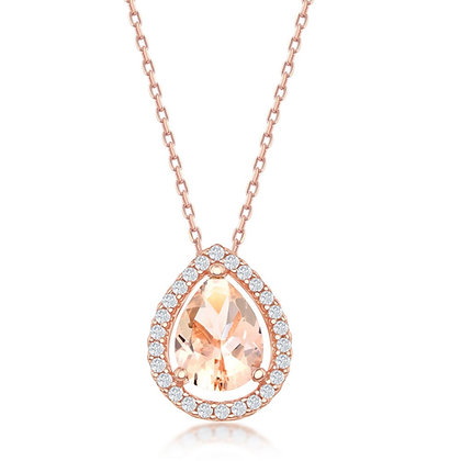 Morganite Set Necklace and Earringd, Teardrop