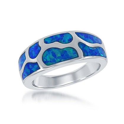 Blue Opal Deco Band Ring