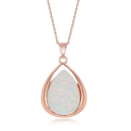 White Opal, Teardrop Rose Gold Set