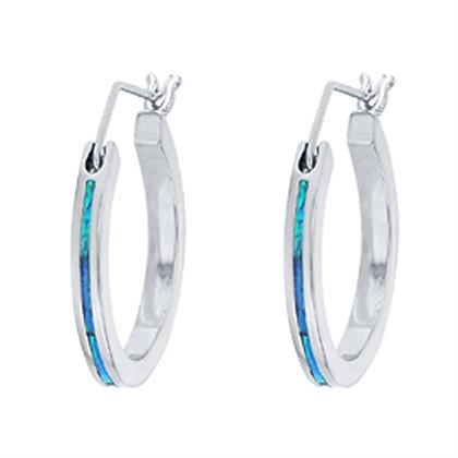 Blue Opal Hoops