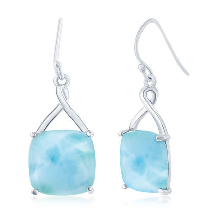Larimar 4 Prong Square Earring