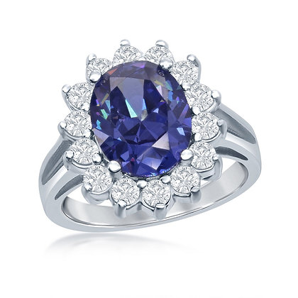 Tanzanite Oval Halo Ring