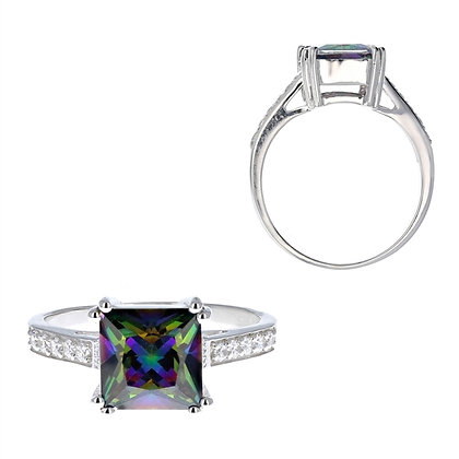 Mystic Topaz, Princess Cut Ring