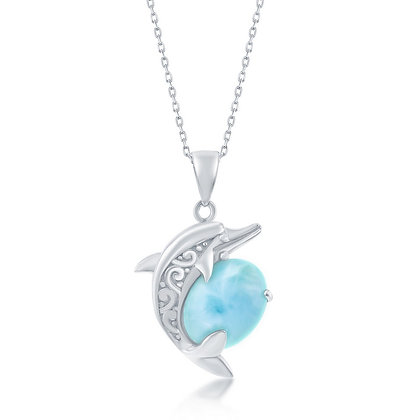 Larimar Dolphin Necklace