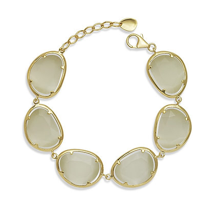 Faceted Nude Cats Eye Bracelet