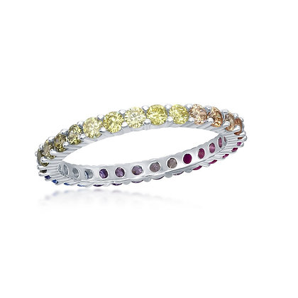 Rainbow Eternity Ring, Yellow or White