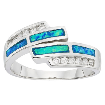 Blue Opal Band with Pave Set