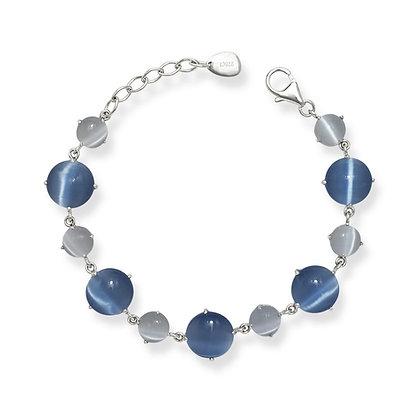Dark and Light Blue Cat's Eye Bracelet