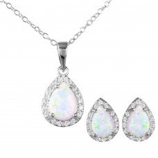White Opal Pear Cut Set