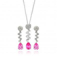 Pink Topaz, Amethyst, or Garnet Set, Bubble Drop