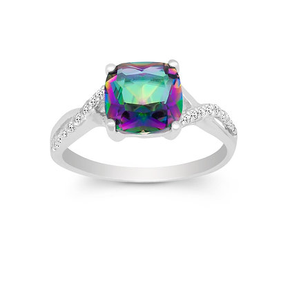Mystic Topaz Ring Cushion Cut