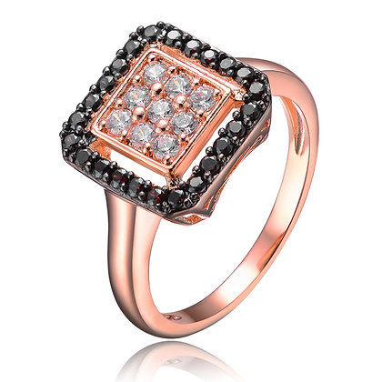 Black Sapphire Rose Ring