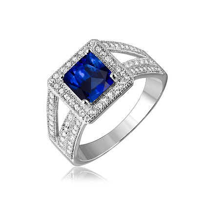 Princess Cut Sapphire, Emerald, or Ruby Ring