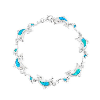 Blue Opal Dolphin Bracelet