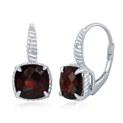 Cushion cut Garnet French Back Earring