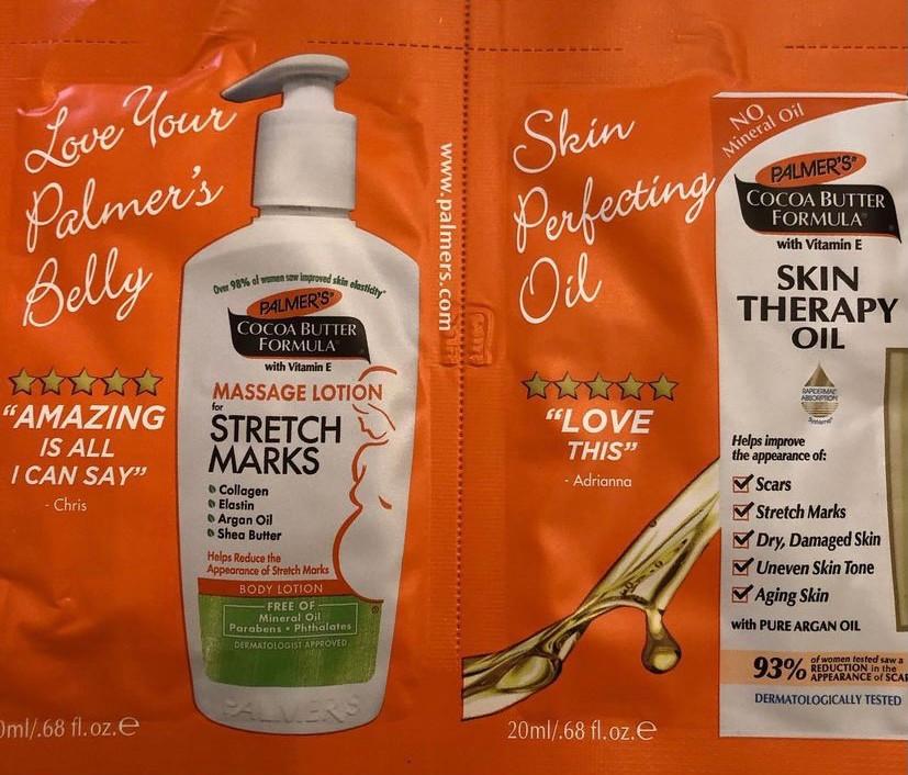 Palmer's stretch mark lotion, skin therapy oil sample for pregnancy, pregnancy moon box. pregnancy gift box