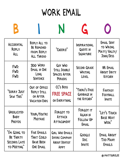 Work Email Bingo (Printable PDF)