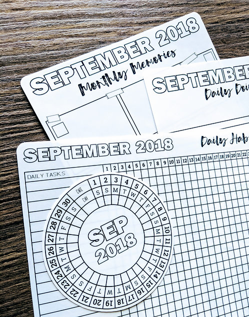 Sticker - 2018 SEPTEMBER MONTHLY BUNDLE - Bullet Journal - Digital Design