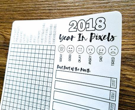 Digital Download - 2018 YEAR-IN-PIXELS - Bullet Journal - Digital Design