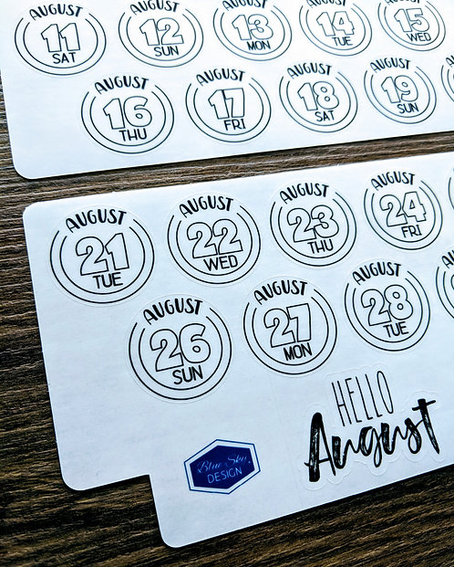 Sticker - 2018 AUGUST DAILY BUTTONS - Two Pages - Bullet Journal