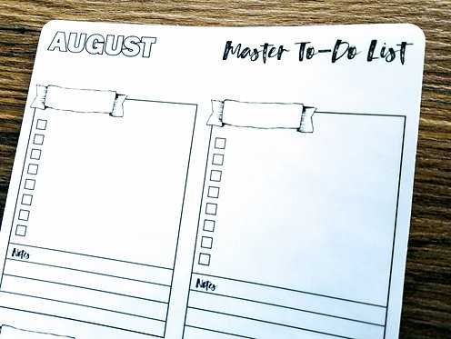 Digital Download - 2018 AUGUST MASTER TO-DO LIST - Bullet Journal