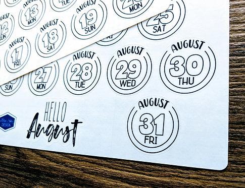 Digital Download - 2018 AUGUST DAILY BUTTONS - Bullet Journal - Digital Design