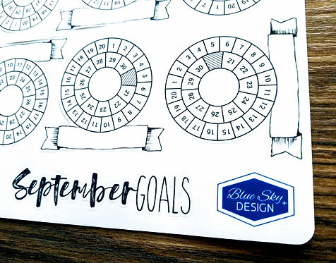 Digital Download - 2018 SEPTEMBER RING MINI GOALS - Bullet Journal
