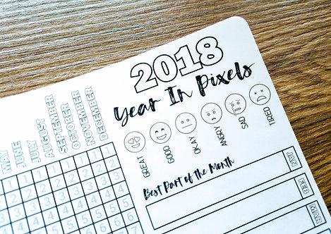 Sticker - 2018 YEAR-IN-PIXELS - Bullet Journal - Digital Design
