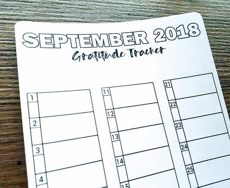 Sticker - 2018 SEPTEMBER GRATITUDE TRACKER - Bullet Journal - Digital Design