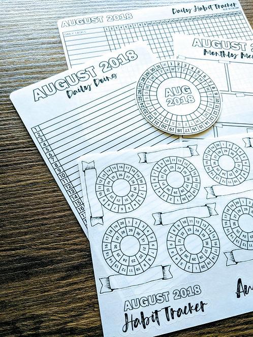 Sticker - 2018 AUGUST MONTHLY BUNDLE - Bullet Journal - Digital Design