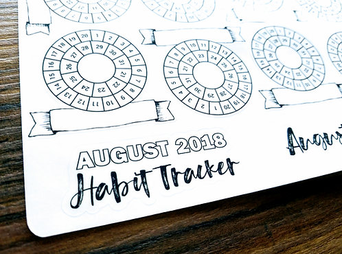 Sticker - 2018 AUGUST RING MINI GOALS - Bullet Journal - Digital Design