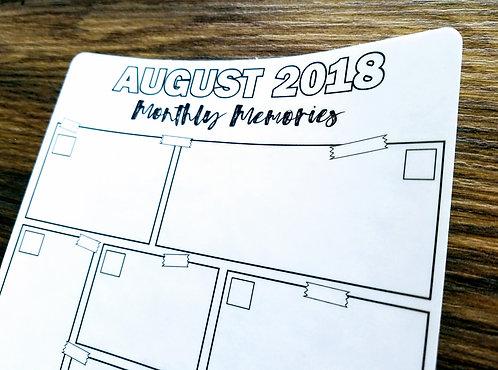 Digital Download - 2018 AUGUST MONTHLY MEMORIES - Bullet Journal
