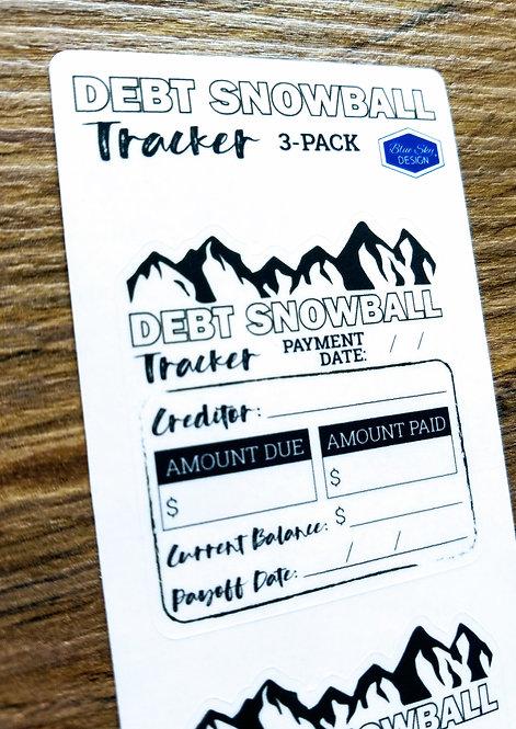Sticker - DEBT SNOWBALL TRACKER 3PK - Bullet Journal - Digital Design