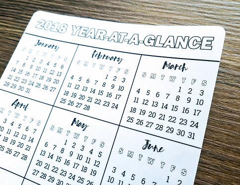 Digital Download - YEAR-AT-A-GLANCE (Sunday) - Bullet Journal - Digital Design