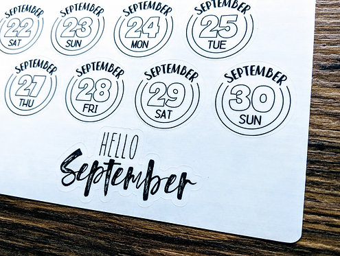 Sticker - 2018 SEPTEMBER DAILY BUTTONS - Two Pages - Bullet Journal