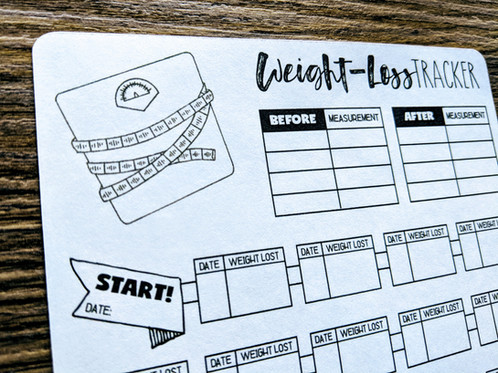 digital download linear weight loss tracker bullet journal