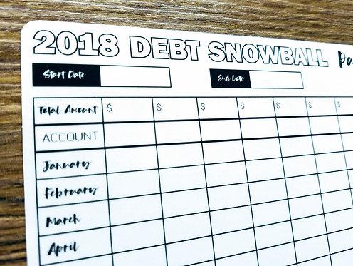 Digital Download - 2018 DEBT SNOWBALL TRACKER - Bullet Journal - Digital Design