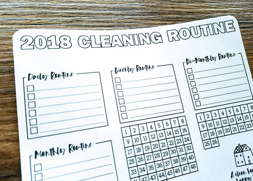 Sticker - 2018 CLEANING ROUTINE - Bullet Journal - Digital Design