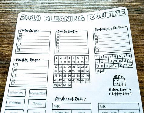 Digital Download -2018 CLEANING ROUTINE - Bullet Journal - Digital Design