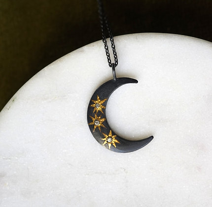Acanthus Celestial Star Moon Necklace
