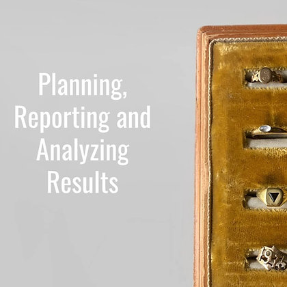 Planning, Reporting and Analyzing Results Training