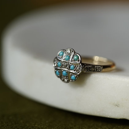 Turquoise and Platinum Ring