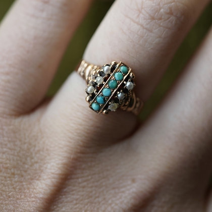 Turquoise and Faux Pearl Ring